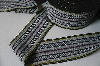 Vintage Striped Cotton Trim. 1 Metre x 70mms wide. Hatbands, Craft