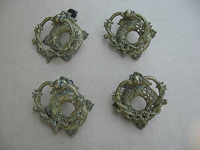 Set of 4 Antique Vintage Brass Metal Drawer Pulls
