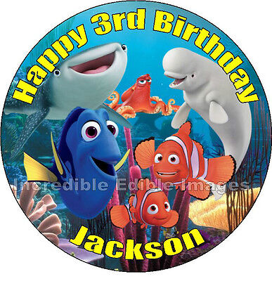 Personalised 19cm Round  Finding Nemo / Dory Edible Cake Toppers