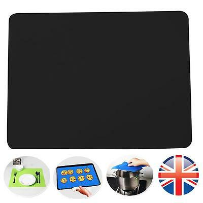 *UK Seller* Black Silicone Heat Resistant Table Mat Pad Straightener Non Slip