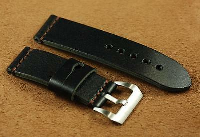 26mm Natural Black Strap with Radiomir Style Handed Stitched