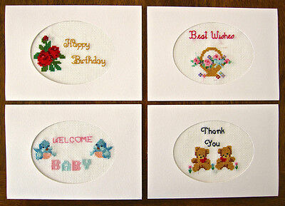 4 embroidered HAND MADE aida CROSS STITCH greeting CARDS birthday THANK YOU baby