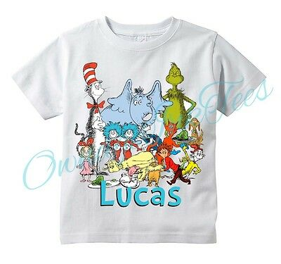 DR SEUSS Group Custom T-shirt PERSONALIZE Birthday ADD NAME, Cat in the Hat