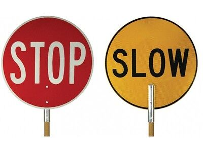 Stop Slow Traffic Control Bat Lollipop Sign | Class 1 450mm Reflective