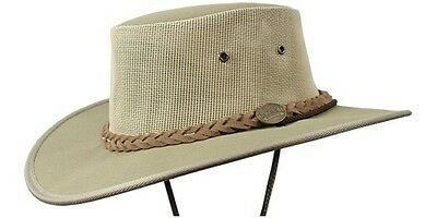 Barmah Canvas Drover Cooler Hat with Chin Cord