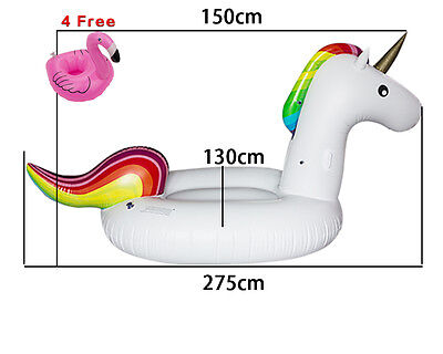 Giant Inflatable Rainbow Unicorn Water Float Swim Rafts Lounger Beach Pool Fun