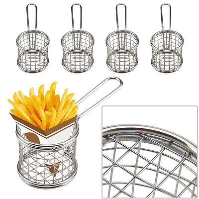 4pcs Mini Restaurant Chips Basket Chrome Chip Fryer Basket Kitchen Serving Dish