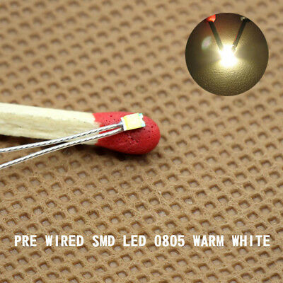 T0805WM 20pcs Pre-soldered micro litz wired leads Warm White 0805 SMD Led NEW