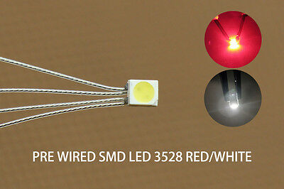 DT3528RW 20pcs Pre-soldered litz wired leads Bi-color RED/WHITE SMD Led 3528 NEW