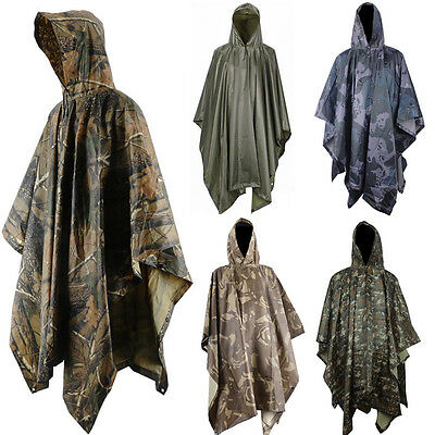Waterproof US Army Hooded Ripstop Rain Poncho Festival Military Camping Hiking