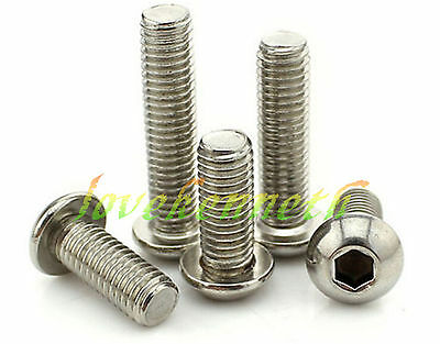 15/25pcs M6 Stainless Steel Allen Button Dome Head Hex Socket Cap Screw Bolt