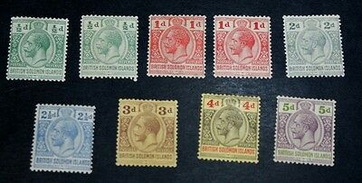 Solomon Islands 1914 KGV with extra shades (9) MH  SG 22/30