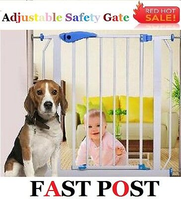 75-85cm Extendable Metal Baby Dog Pet Safety Secure Gate Door 10-45cm extension