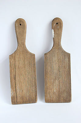 Pair Rustic Vintage Ribbed Wooden Butter Pats Dairy Kitchenalia Shabby Chic