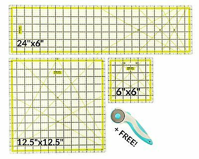"Quilting Ruler Set 24/12/6"" Craft Patchwork Inch Sewing Template & Rotary Cutter"