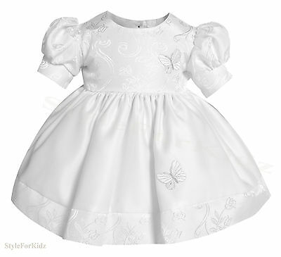 Baby Girls White Christening Party Wedding Dress