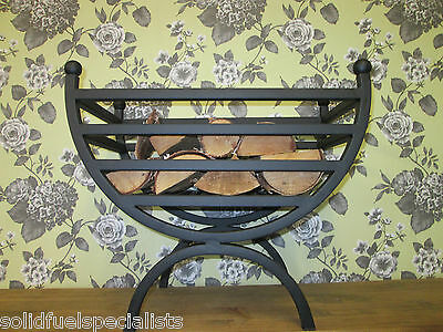 Art Deco Fire Basket  Wood Burning Black Finish With Grate Andirons 30,50,55Cm