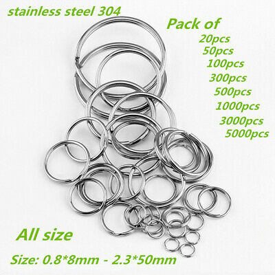 8-35mm Stainless Steel Split Key Ring Fishing Solid Jump Chain  Wholesale 100Pcs
