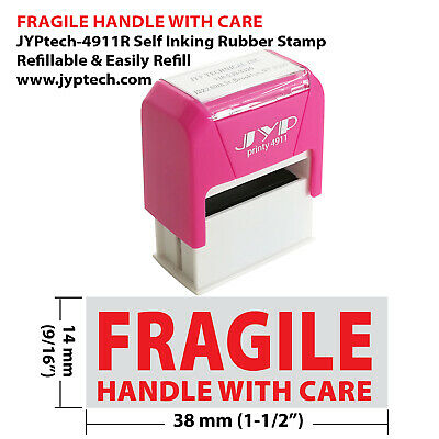 "JYP PA1040 Rectangle Stock Pre-Inked Rubber Stamp w. ""Fragile Handle With Care"""