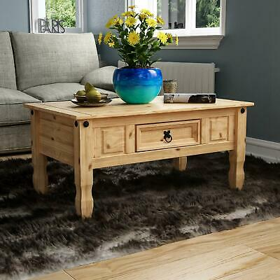 Corona Coffee Table 1 Drawer Mexican Solid Waxed Pine Rustic Living Furniture