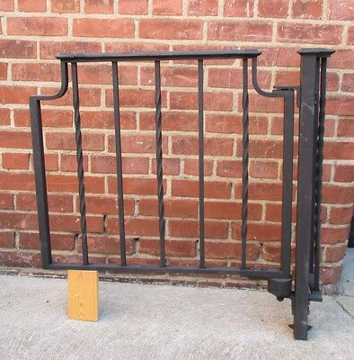 Vintage Black Wrought Iron Garden Gate w/ Torsion Spring & Post (#1)