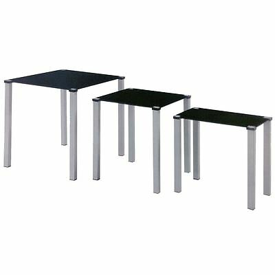 LUNA NEST OF TABLES 3 Units Black Glass Top End Hallway Side Table Living Room