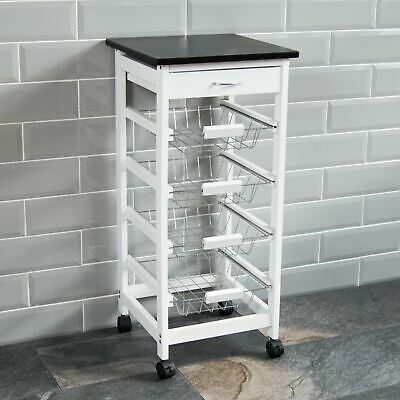 4 TIER KITCHEN TROLLEY White Storage Portable Cart Basket Storage Home Rack