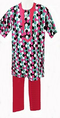 "Handmade Cerise Print Tunic & Matching Plain Trousers, 38 - 40"" Chest, Tr089"