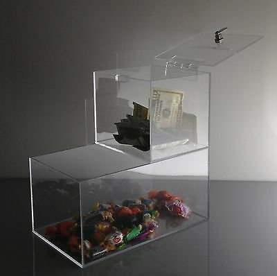 """Trust Box"" 6 x 6 x 6 Locking Acrylic Donation Box w Product Compartment"
