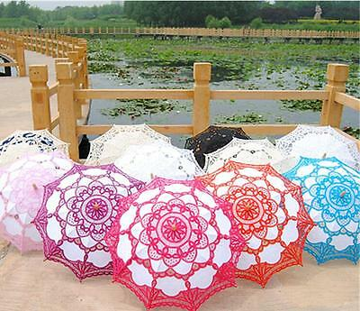 Wedding Lace Parasol Umbrella Victorian Lady Costume Accessory Bridal Party Deco