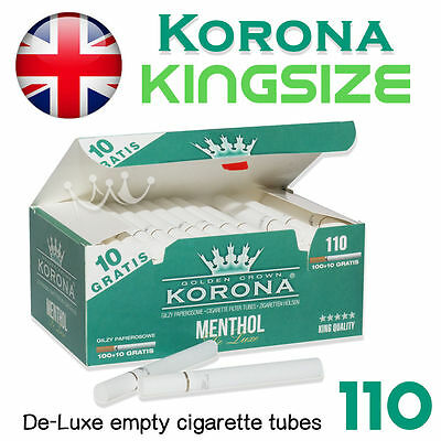 110 Korona De-Luxe Menthol King Size Filter Tubes Make Your Own Cigarettes