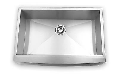 "33"" Stainless Steel Apron Kitchen Sink Farm Curved Front Single Bowl w/ Strainer"