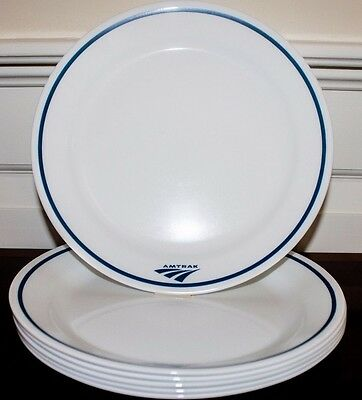 """Lot of SIX NEW Amtrak Corelle 9"""" Lunch Plates from case"""