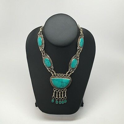 Vintage Handmade Afghan Turkmen Cab Green Turquoise Inlay ATS Statement Necklace