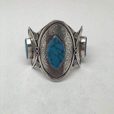 Vintage Afghan Turkmen Tribal Marquise Blue Turquoise Inlay cuff bracelet ,BR17