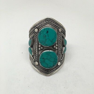 1pc Afghan Turkmen Double Cab Round Green Turquoise Inlay cuff bracelet , BR12