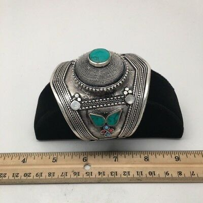Vintage Afghan Turkmen Tribal Green Turquoise Inlay Dome Shape cuff bracelet,BR