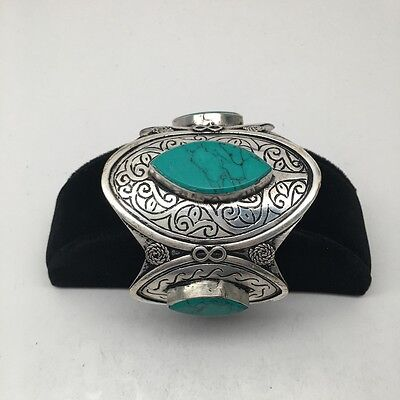 Vintage Afghan Turkmen Tribal Marquise Green Turquoise Inlay cuff bracelet, BR18