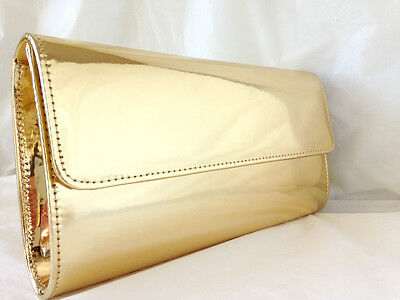 New Gold Faux Patent Leather Evening Day Clutch Bag Wedding Party Club Prom