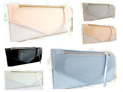 New Pale Blue Pink Nude Grey Faux Suede & Patent Leather Evening Day Clutch Bag