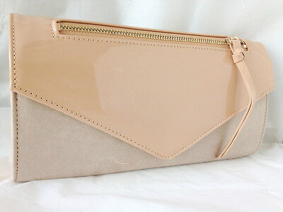 New Nude Beige Faux Suede & Patent Leather Evening Day Clutch Bag Wedding Prom