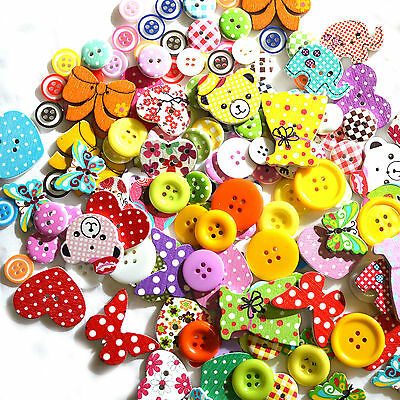 150 x MIXED BUTTONS WOODEN RESIN RANDOM CRAFT WOOD SCRAPBOOK SEWING CARDMAKING