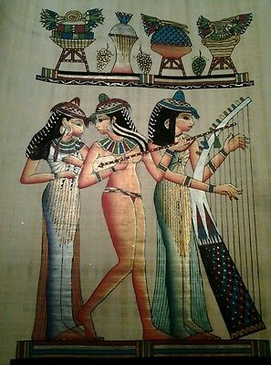 Hand Painted Egyptian Art On Papyrus, Music #82