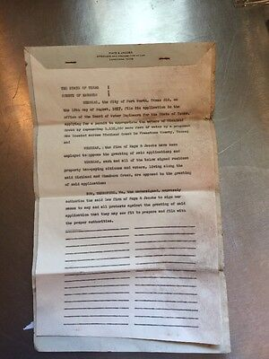 Legal Document For Richland Chambers Lake TX Dam August 1957 Water Appropriation