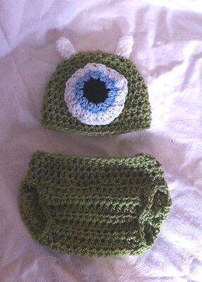 Crochet Mike inspired monsters inc hat and nappy cover set 0-3 photo props