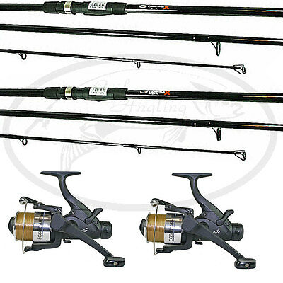 2 Carp Max Fishing Rod & Reel Set 12ft 3 pc 2 Max60 Bait Free Runners NGT Tackle