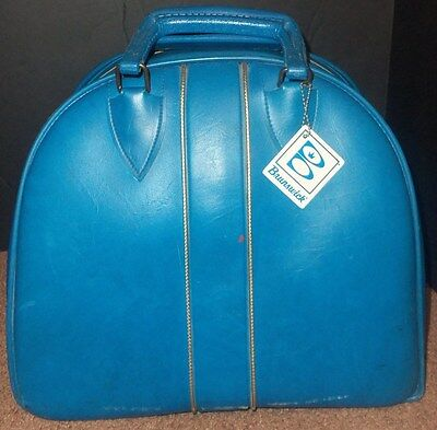 Vintage Bowling Ball Bag BRUNSWICK Blue with Wire Rack