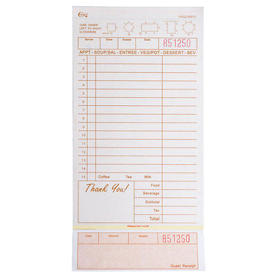 (2000-Pack) 3 Part Tan and White Carbonless Guest Check w/ Bottom Guest Receipt