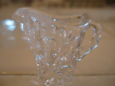 Beautiful Vintage Clear Crystal Cut Glass Miniature Pitcher Thumbprint Pattern