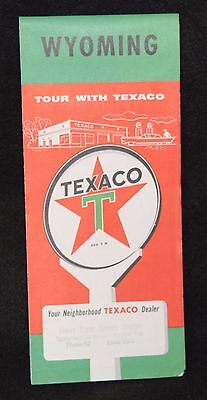 Texaco Oil Vintage Road Map Wyoming Red Star